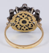Vintage ring in 18k gold and silver with green stone and diamond rosettes, 40s - Antichità Galliera