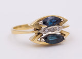 Vintage gold ring with sapphires and diamonds, 70s