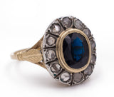 Antique gold and silver ring with sapphire and diamond rosettes, circa 1920