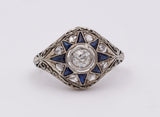 Art decò ring in white gold with diamonds and sapphires