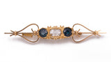 Antique gold brooch with central diamond and sapphires, 20s
