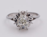 White gold solitaire ring with brilliant cut diamond, 40s