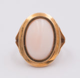Vintage 18K gold ring with pink coral, 50s