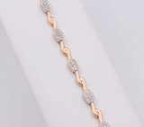 Yellow and white gold bracelet with pavé diamonds