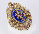 Vintage brooch in 18k gold with enamels, glass paste and beads. 50s - Antichità Galliera