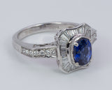 Vintage white gold ring with sapphire and diamonds, 50s