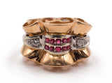 Art deco gold ring with diamonds and rubies, 30s / 40s