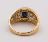Vintage gold ring with sapphire and brilliant cut diamonds, 50s