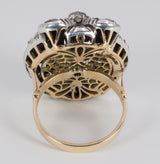 Antique gold and silver ring with approx. 5ct of rosette cut diamonds, early 900s