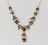 Vintage gold and silver necklace with rubies, 50s