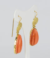 Vintage gold earrings with coral, 50s