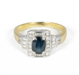 Vintage two-tone gold ring with diamonds and sapphire, 50s