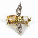 Vintage gold and silver fly brooch with diamond and topaz rosettes, 40s
