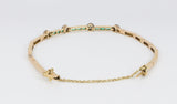 Gold bracelet with brilliant-cut diamonds and emeralds. 30s