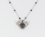 Vintage gold sapphire, opal and diamond necklace with pendant, 40s