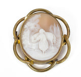 Antique brass cameo brooch, 30s