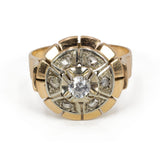 Vintage gold ring with brilliant cut diamond and rosettes, 40s