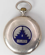 Longines pocket watch in silver with Saurer case back, late 800th century