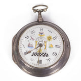 Masonic pocket watch in silver, first half of the 800th century