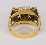 Vintage 18k gold ring with rosette cut diamonds, 30s / 40s
