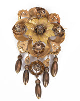 Antique gold brooch with rosette cut diamonds, late 800th century