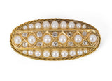 Antique gold brooch with old-cut diamonds and pearls, early 900s
