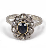Vintage 18k white gold sapphire ring with diamond rosettes, 40s