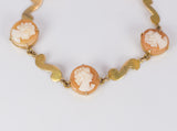 Vintage 9k gold bracelet with cameos on shell, 50s