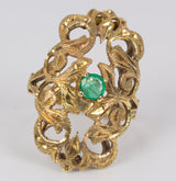 Vintage gold ring with emerald, 30s