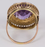 Antique 18k gold ring with amethyst and beads, early 900s