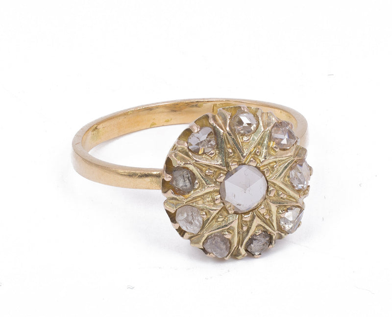 Anello antico a toppa in oro 18K con rosette di diamante, primi del '900 - Antichità Galliera