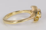 Vintage 18k gold ring with central brilliant cut diamond (0.20 ct), 70s.