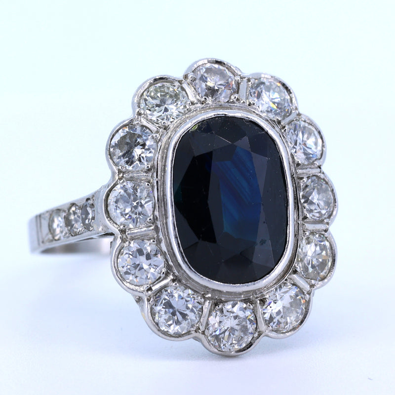 Anello vintage in platino con diamanti (1.25 ct) e zaffiro di 6 ct , anni 60