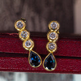 Vintage 18K gold earrings with diamonds and sapphire, 70s - Antichità Galliera
