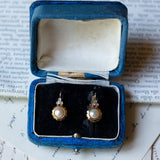 Vintage 18K gold earrings with pearls and diamonds, 50s - Antichità Galliera