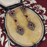 14K gold antique style earrings with rubies and diamond rosettes - Antichità Galliera