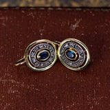 Antique earrings in 18K gold and silver, with sapphires and diamond rosettes, 40s / 50s - Antichità Galliera