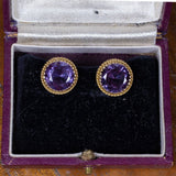 Vintage 18K gold earrings with purple sapphires, 50s - Antichità Galliera