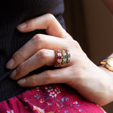 Modern Victorian style ring in 9K gold with rubies and diamonds - Antichità Galliera
