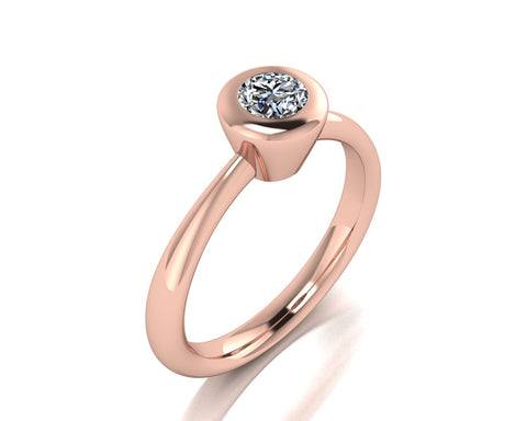Solitario a castone in oro 18k con Diamante ct. 0,40