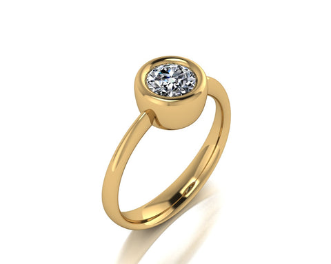 Solitario a castone in oro 18k con Diamante ct. 0,30
