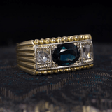 Antique 18K gold men's ring with central sapphire and rosettes, 40s - Antichità Galliera