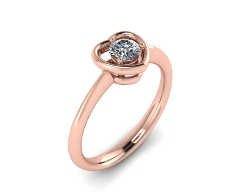 Solitario a cuore in oro 18k con Diamante ct. 0,20