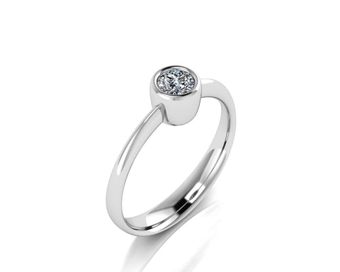 Solitario a castone in oro 18k con Diamante ct. 0,15