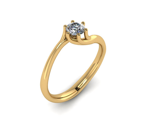 Solitario griffe a sei punte in oro 18k con Diamante ct. 0,25