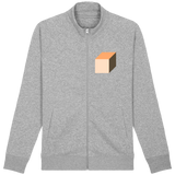 'Cube' Organic Cotton Grey Zip-Up Sweatshirt - Supermodernism