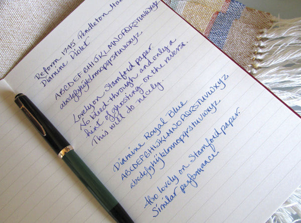 handwriting on stamford notebook company fountain pen friendly paper