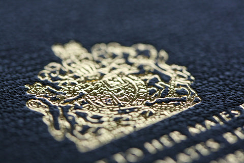 Gold Royal Crest Hot Foil Blocked on to Notebook Cover