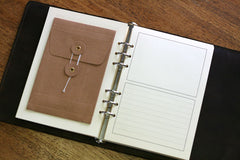 custom made leather journal with ring binder mechanism