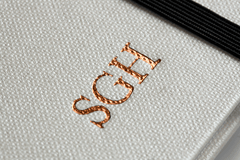 Bronze Initials Embossed on Notebook